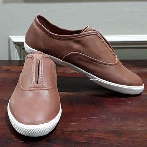 Frye Brown Leather Slip On Sneakers